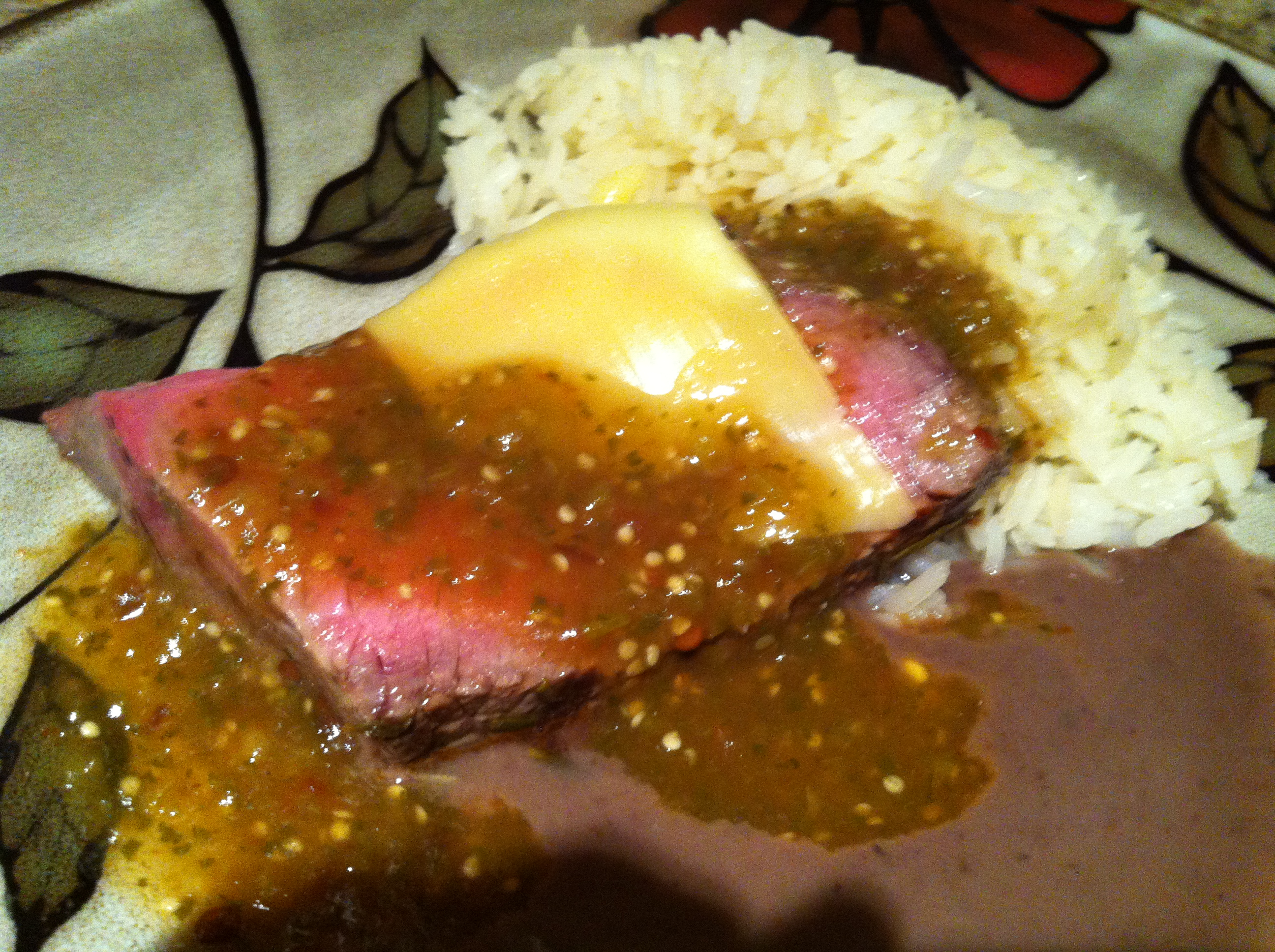 Roast on bed of Black Bean Sauce, with Asadero cheese and Tomatillo ...