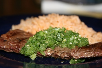 Salsa Verde on Skirt Steak